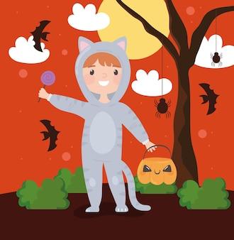 Boy in costume cat for halloween