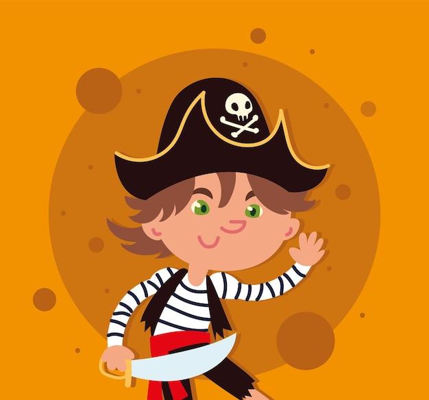 Boy in costume of pirate
