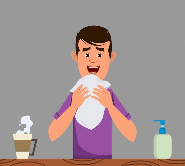 Boy coughing. coronavirus symptom concept