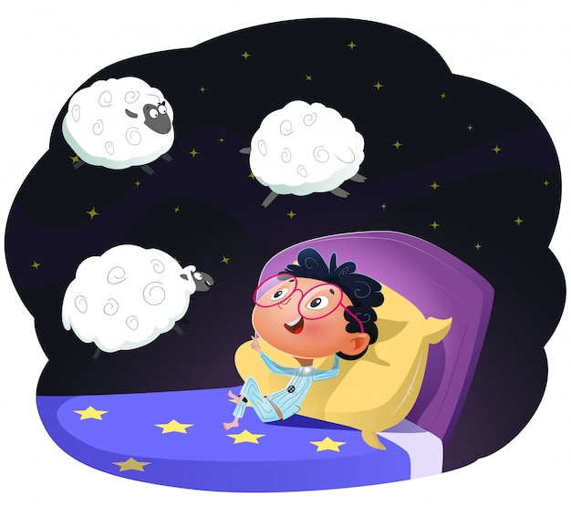 Boy counting sheep to fall asleep, vector llustration