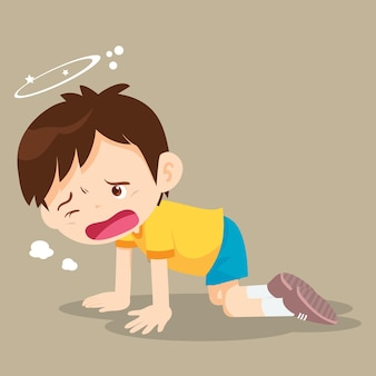 Boy crawling have dizziness on the floor