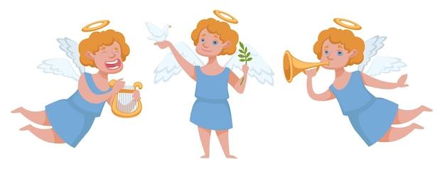 Мальчик амур персонаж дует на трубу и играет на арфе. ангельское существо, рождество и новогодний праздник. рождество или день святого валентина. чудеса и празднование событий. вектор в плоском стиле