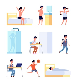 Boy daily activities. kid hygiene, smiling active baby morning time. little child studying eating wake up, life routine vector illustration. boy morning wake, rest time and study, activity child