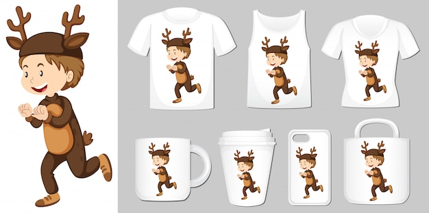 Boy in deer costume on different types of product template
