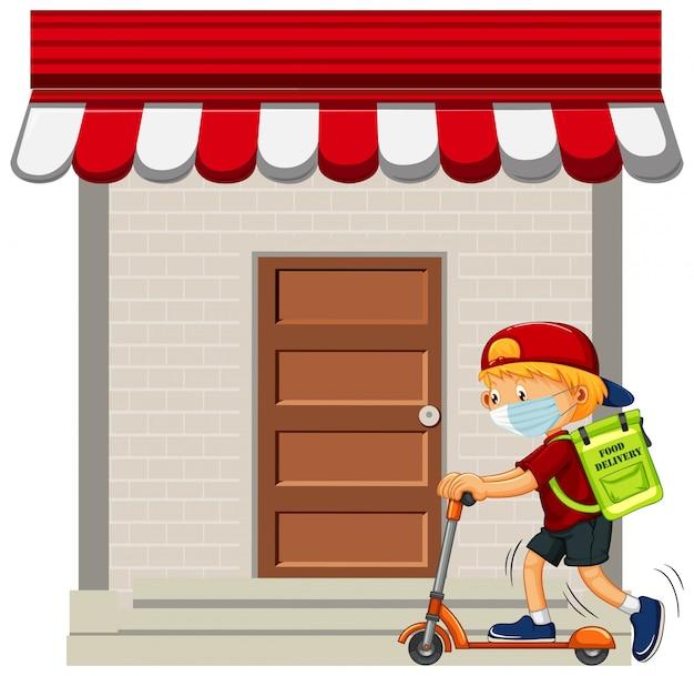 Ragazzo consegna cibo con kick scooter