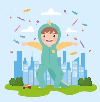 Boy dinosaur costume in the city