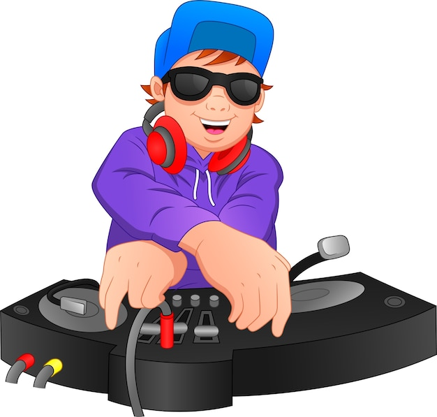 Boy disc jockey is performing
