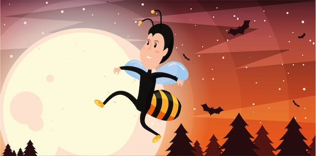 Boy in disguise of wasp in scene of halloween