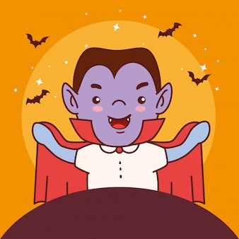 Boy disguised of count dracula for happy halloween celebration vector illustration design