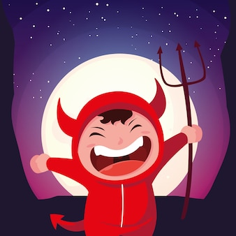 Boy disguised of devil in scene of halloween