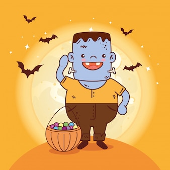 Boy disguised of frankenstein for happy halloween celebration with candies and bats flying vector illustration design