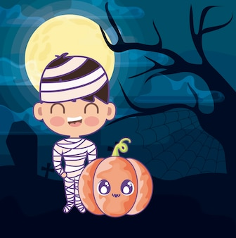Boy disguised of mummy with pumpkin