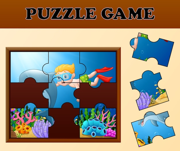 Boy diving and dolphin with puzzle concept