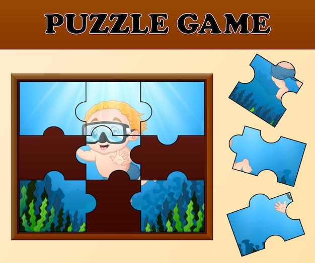 Мальчик погружается с концепцией головоломки