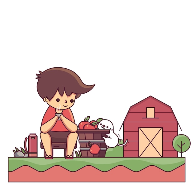 Boy and the dog in farm house character vector illustration