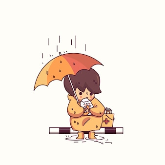 Boy and dog in the rain character vector illustration