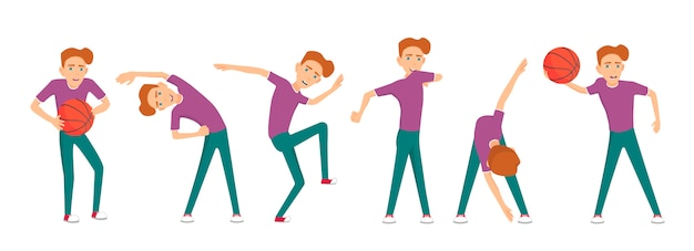 Boy doing different exercises