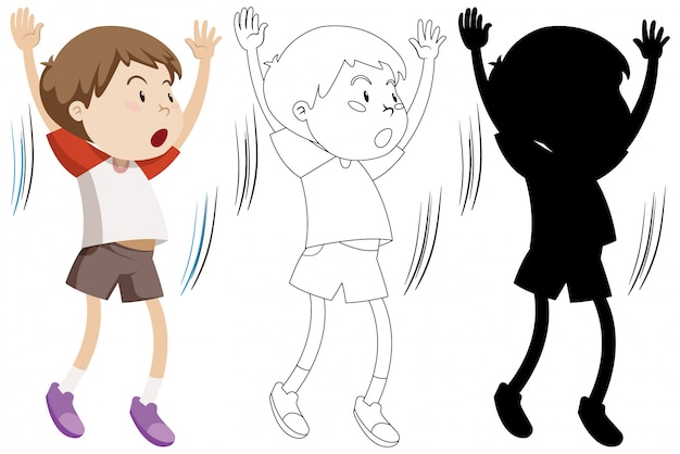 Boy doing exercise with its outline and silhouette