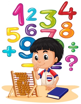 Boy doing math with abacus