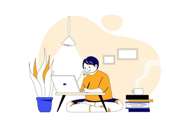 노트북 교육 그림 개념을 사용하여 온라인 연구를하는 소년