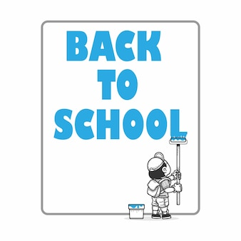 Boy doing painting words back to school vector illustration