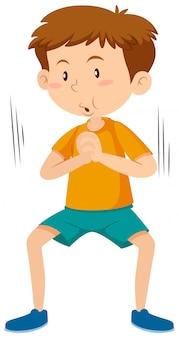 Мальчик делает упражнение на корточках