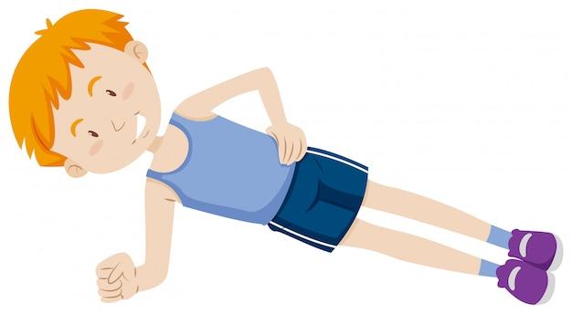 Boy doing stomach exercises