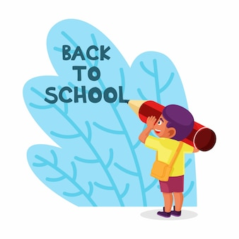 Boy doing writing words back to school vector illustration