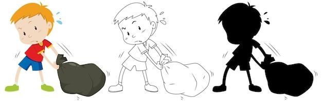 Il ragazzo trascina il sacco della spazzatura nero a colori e contorni e silhouette