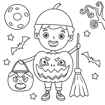 Boy dressed as pumpkin with broom and bag and halloween decoration, line art drawing for kids coloring page