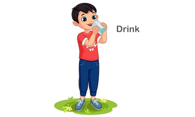 Иллюстрация шаржа питьевой воды мальчика