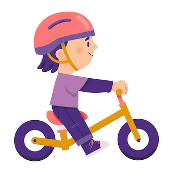 Boy driving a push bike for cheerful, vector character illustration