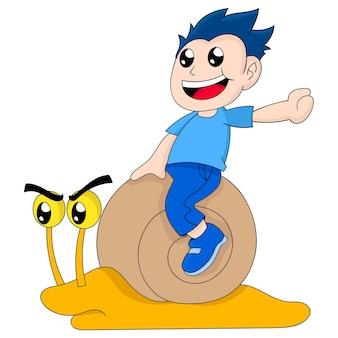 Мальчик за рулем мультипликационного персонажа улитки