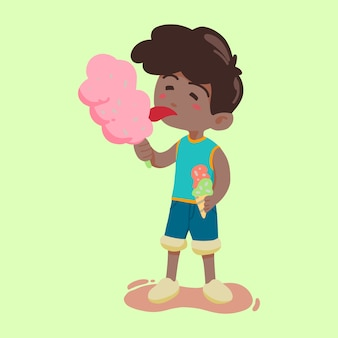 Boy eating candy and ice cream vector