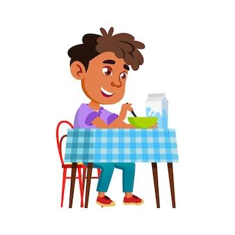 건강 한 아침 식사 음식 벡터를 먹는 소년. 행복한 히스패닉 초반 이었죠 아이는 부엌에서 우유와 함께 맛있는 음식을 먹습니다. 접시 플랫 만화 일러스트 레이 션을 즐기는 라틴 문자 모범생