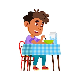 Boy eating healthy morning breakfast food vector. happy hispanic preteen child eat delicious food with milk in kitchen. latin character schoolboy enjoying dish flat cartoon illustration