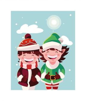 Boy and elf in winter landscape