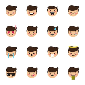 Boy emoticons collection