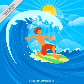 그의 서핑 보드 배경으로 즐기는 소년 무료 벡터