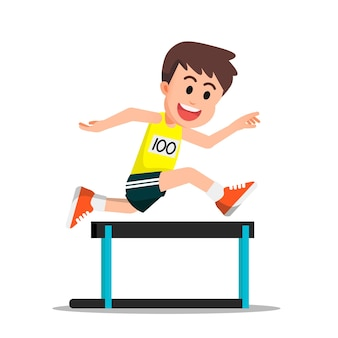 A boy excited to do hurdling