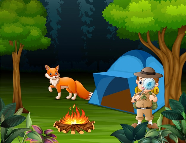 Boy explorer camping in the forest and a fox near the tent