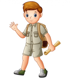 Boy explorer holding a map