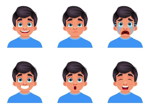 소년 얼굴 표정 디자인 일러스트 절연 프리미엄 벡터