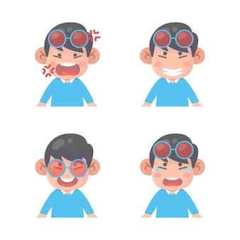 소년 얼굴 표정 세트