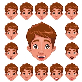 Boy faces collection