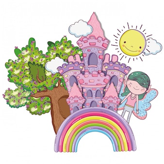 Boy fairy creature with castle in the rainbow