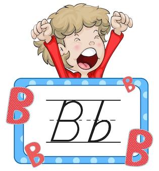 Ragazzo e flashcard per la lettera b