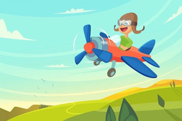 Boy flying in airplane.