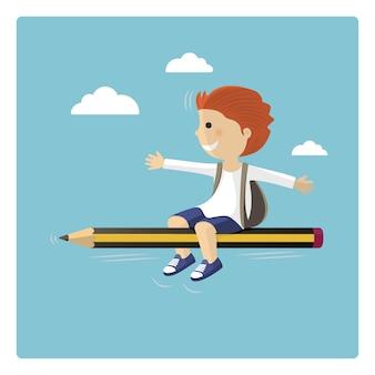 空を通って鉛筆で飛んでいる少年