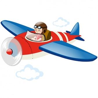 Boy flying in an airplane